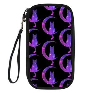 FORUDESIGNS Cats Moon Galaxy Travel Passaporto Organizer Bag Glitter Sparkles Stars Portafoglio ID Porta frizione Portamonete