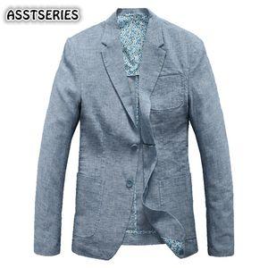 Asstseries Blazer Erkekler Bahar Yaz Erkekler Ince Saf Pamuk Keten Malzeme Takım Elbise Boş Ceket Tek Göğüslü Moda Erkek Blazer