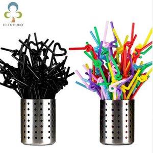 50pcs Colorful plastica nera flessibile pieghevole paglia Cannucce giorno del matrimonio festa di compleanno di San Valentino decorazione GYH