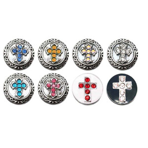 Atacado Cristal Cruz 042 Strass Botões de Pressão de Metal Fit 12mm botão Snap pulseiras Brincos colar Para mulheres