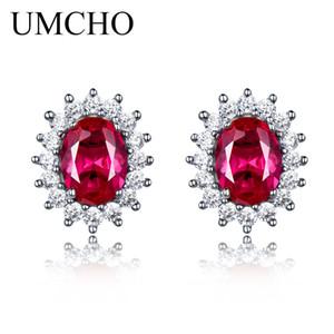 UMCHO Lusso 925 orecchini in argento sterling Creato Rubino Orecchini Per Le Donne Da Sposa Festa Nuziale Monili di Marca Fine Jewelry S18101207