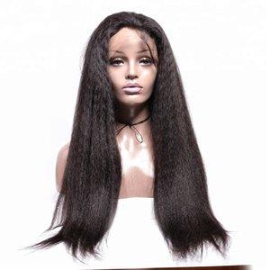 Made in China 100% grezza non trattata capelli umani remy remy lunga naturale colore yaki parrucca piena del merletto diritto del merletto