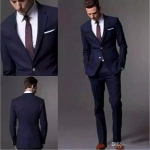 Сшитое на заказ темно-синий мужской костюм 2020 модный костюм жениха свадебные костюмы для мужчин Slim Fit Groom смокинги для лучшего человека (куртка + брюки)