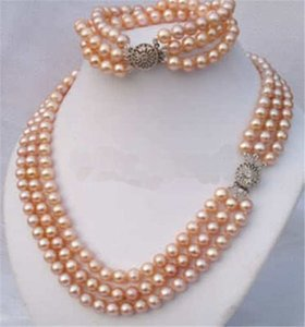 Genuine 3Rows 7-8mm Pink Akoya Pearl Necklace Bracelet Set