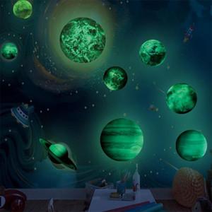Sistema Solar 9pcs planeta adesivos de parede bebê Crianças Quarto luminoso Wall Stickers brilham no escuro decalque decoração Home