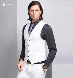 White Groom Vests Suit Men's Vests Casual Striped Slim Fit Waistcoat British Vintage Blazer Sleeveless Jacket S-6XL Different Color In Stock