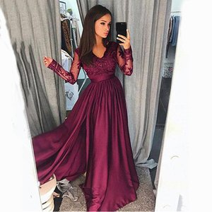 Glamorous V-neck Neckline Long Sleeves A-line Prom Dresses With Gorgeous Lace Appliques Illusion Evening Party Dresses Custom Made
