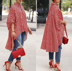 2018 Avrupa ve Amerika Birleşik Devletleri sıcak moda yeni kadın çizgili baskı rahat Büyük etek gömlek ücretsiz kargo