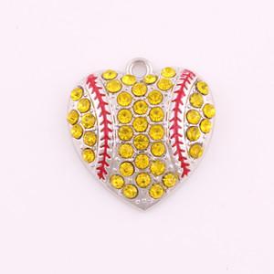 Мода Rhinestone формы сердца бейсбола софтбол коренастый кулон ювелирные изделия для ожерелья спорта ювелирных женщин Металл моды подарки