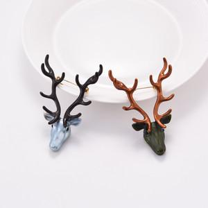 2 Colores CZ Deer Head Broches Prendedores Para Boda Nueva Joyería de Moda Hombres Mujeres Broche de Cristal Accesorios Envío Gratis