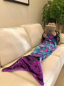 2018 fashion new three-dimensional color sequins Mermaid tail children's blanket party cosplay props and children's holiday gifts