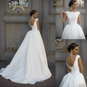 Cheap Boat Jewel Neck Ruched Draped Cap Sleeves A Line Wedding Dresses V Back Satin Sweep Train Plus Size Custom Bridal Gowns