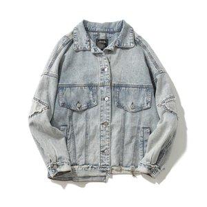Erkek x1129 için ABOORUN Merhaba Sokak Mens Büyük Boy Denim ceketler Retro Patchwork Ripped Jeans Ceketler Hip Hop İlkbahar Sonbahar Coat