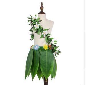 Aditing Hawaiian Simulate Foglie tropicali Gonna Corona Ghirlanda verde Puntelli da ballo Decorazione Forniture per feste in spiaggia