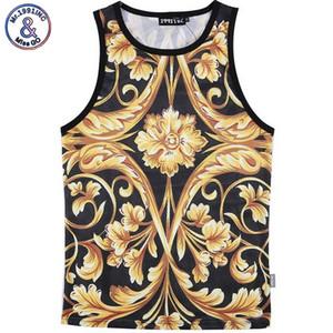 Оптовая продажа-Mr. 1991INC мужчины лето топы 3D желтый цветок цифровой печати сетки жилет Джерси рукавов футболки для мужчин размер M-XXL
