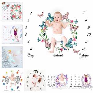 29 종류의 신생아 사진술 배경 소품 아기 사진 직물 배경 아기 담요 포장 문자 꽃 번호 인쇄 헝겊 BHB26