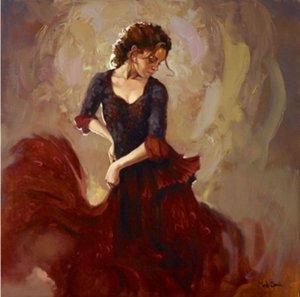 Hochwertige handgemalte Impressionist Porträtkunst Ölgemälde Lady Schönheit figurative Tänzerin mit rotem Hemd auf Leinwand Wandkunst Dekor p328