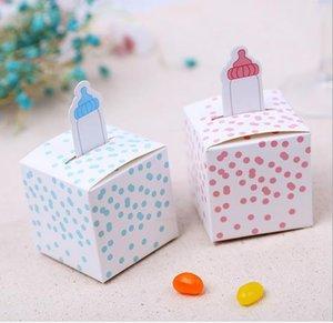 100 قطعة / الوحدة التمريض زجاجة نمط الوردي الأزرق عيد ميلاد الصبي استحمام الطفل الحلوى مربع هدية صناديق تغليف الشوكولاته استحمام الطفل صالح