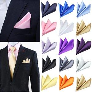25pcs Wholesale Men Vintage Hanky Groomsmen Color High Quality Square 'S Handkerchief Party Solid Pocket Men Fashion Lnhmx