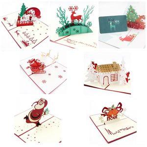 3D Pop Up Tarjetas de felicitación navideñas Ciervo Jesús Reno Navidad Acción de gracias saludo plegable de la vendimia gracias tarjeta de navidad