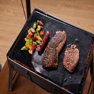 50pcs 검은 PTFE 비 스틱 바베큐 그릴 매트 바베큐 베이킹 라이너 재사용 가능한 테플론 요리 시트 40x33cm 요리 도구