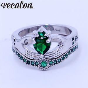 Vecalon عشاق الأخضر المولد كلاداغ خاتم من الذهب 5A الزركون تشيكوسلوفاكيا الأبيض ملأت خطوبة زفاف باند حلقة مجموعة للنساء الرجال هدية