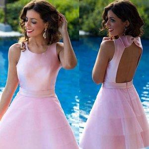 Los vestidos del coctel rápido libre Hecho de encargo rosado longitud de la rodilla Vestidos de Fiesta de volantes de raso una línea corta vestidos de baile espalda abierta barato