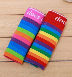 Sommer-Art-Unterwäsche Striped Boxer-Regenbogen-Farben-Streifen-Baumwollart- und weisemarke-Männer Boxer-Großhandelshersteller-reizvolle Unterhose
