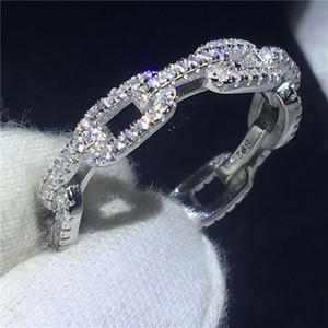 Cadeia Handmade Forma Promise anel 100% Soild 925 Jóias de prata esterlina 5A Zircon cz Anéis de Noivado aliança de casamento para as mulheres