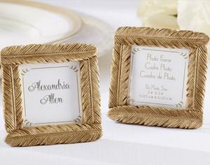 10pcs Mini marco de fotos de plumas de oro para la boda Baby Shower Party Birthday Favor Gift Souvenirs Souvenir