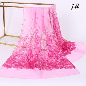 Bufanda de seda de la gasa de las mujeres populares Venta caliente impresión del flor del melocotón nueva bufanda fina Bufandas