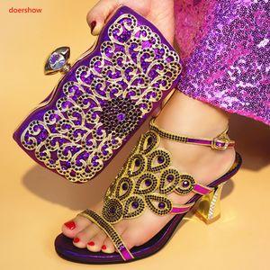 African Sets purplre Couleur Chaussures italiennes avec sacs assortis Chaussures de haute qualité pour femmes et sac à assortir pour les parties PR1-3
