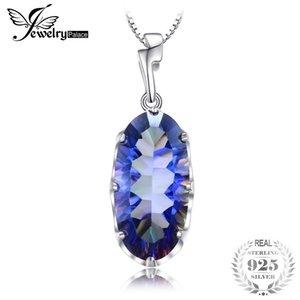 JewelryPalace 11.8ct Véritable Mystique Bleu Arc-En-Topaze Pendentif Solide Argent Sterling 925 Bijoux De Marque De Mode Sans Chaîne S18101308