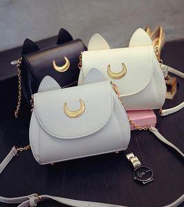 3 Colors Kawaii Summer Sailor Moon Ladies Handbag Black Luna Cat Chain Shoulder Bag Leather Women Messenger Crossbody Bag 50pcs