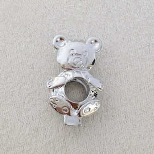 Little Bear Style Pearl Bead Locket Cage, puede abrir Bear Pendant Fittings para DIY Bracelet Necklace Charms