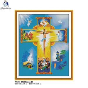 Оптовая Иисуса 10 насчитал 14 карат 11CT набивные ткани холст ДМС китайского Handwrok СДЕЛАЙ САМ вышивка крестом комплект НКФ вышивка