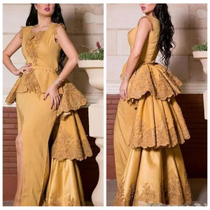 2021 Пользовательские кружевные аппликации Сплит вечерние платья Yousef Aljasmi Dubai Арабские кружевные выпускные платья поспешные выпускные розыгрыши.