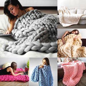 взрослый меринос шерсть коренастый гигант большой большой вязать одеяло мягкая теплая пряжа вязаный крючком ручной работы кровать главная бросить одеяло 200