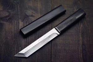 Cuchillo de alta calidad Katana VG10 Damasco Acero Tanto Cuchilla de ébano con cuchilla fija con vaina de madera Colección de cuchillos