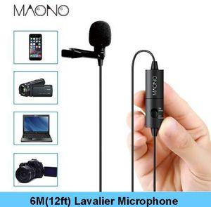 MAONO Lavalier Microphone 6M con clip de micrófono de condensador Manos libres solapa Mic para Smartphone Canon DSLR Camera PC portátil