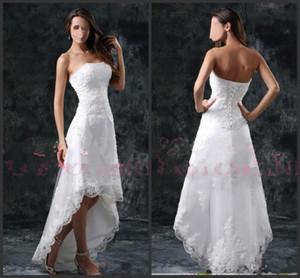 2020 새로운 여름 해변 하이 - 로우 전체 레이스 A 라인 웨딩 드레스 끈이 아플리케 짧은 정장 돌아 가기 Vestidos 신부 가운 레이스 업