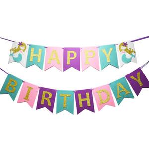 Venta al por mayor 1 unids Gold Glitter Mermaid Happy Birthday Banner Garland Birthday Party Bunting Decor envío gratis