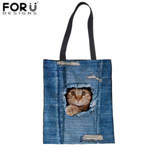 Forudesigns tuval tote çanta denim kot kedi 3d baskı pamuk alışveriş çantası moda saklama paketi çantası keten bakkal sacola yeni