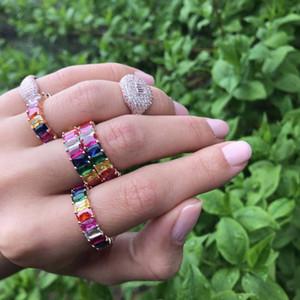 New Shiny Colorful Carino Anelli Boemia Moda Arcobaleno Strass CZ Punk Finger Ring Attraente Donna Ragazze gioielli da sposa