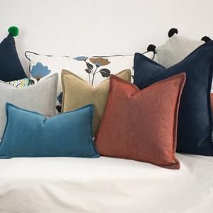 Al por mayor estilo nórdico Simple Hemming Cojín Throw Pillow Funda de Cojín Engrosado 78% Algodón Sin Relleno Home Decor