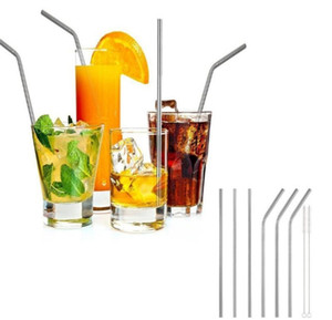 Colorful Stainless Steel Drinking Straw 8.5inch - 10.5inch Reusable High Quality 304 Straight Bent straw for Bar fruit juice drink straw