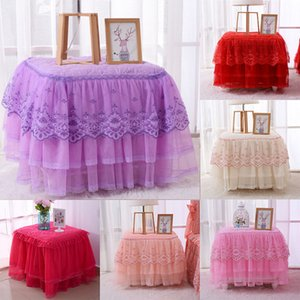 Tulle Table Skirt Vajilla para el banquete de boda Birthday Decor Tutu Ruffle Lace Mesita de noche Cover XMAS Home Decorations Regalo HH7-1508