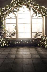 5x7ft 비닐 봄 꽃 빈티지 나무 창 배경 사진 스튜디오 배경