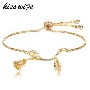 KISSWIFE старинные розы цветок подвески браслеты Модные женские LinkChain браслет браслеты свадьба ювелирные изделия невесты подарок