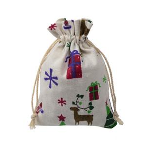 13x18cm Leinwand Cotton Kordelzug Geschenke Taschen Schmuck Beutel-Taschen Christmas Deer Muster Drawstring-Beutel für Hochzeitsfest bevorzugt Sack Verpackung